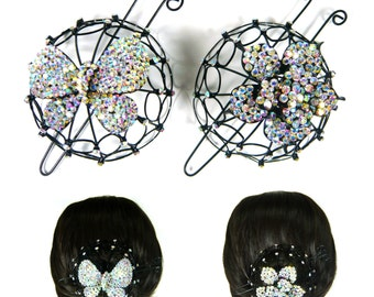 Bling Silver Aurora Crystal Rhinestone Butterfly Flower Jewelry Metal Bun Net Cage Snood Cover Holder Hair Stick Clip Pin Wedding Party Gift