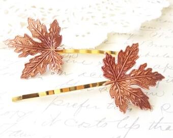 Rose Gold Leaf Hair Pins - Maple Leaf Bobby Pin - Woodland Hair Pins - Whimsical - Bridal hair Accessory - Rose Gold Maple Leaf Pins