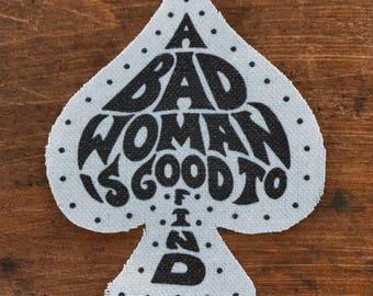 Bad Woman handmade canvas patch