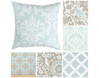 Powder Blue Pillow Covers.Taupe Accent Pillows.Light Blue Throw Pillows.Damask Toss Pillows.Scrolls Pillows.Powder Blue Pillows