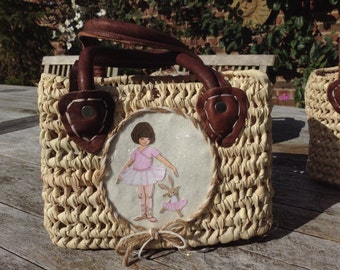 Girl's Wicker Basket with Leather Handles, Belle and Boo Ballerina Picture