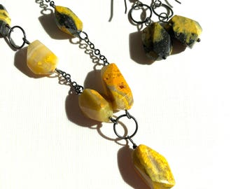 Green-yellow jasper necklace with earrings: silver wirewrapped necklace-earring set