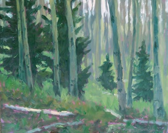 Morning Dawning in the Enchanted Forest - Santa Fe - New Mexico - Original Oil Landscape Painting