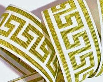 """Greek Key Ribbon -1 1/2"""" x 3 yds - Greek Key Woven Ribbon Olive/Kiwi and White"""