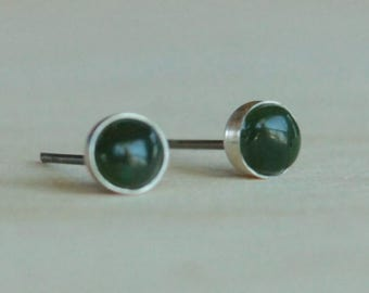 Nephrite Jade Gemstone 5mm Bezel Set on Niobium or Titanium Posts (Hypoallergenic Stud Earrings for Sensitive Ears)