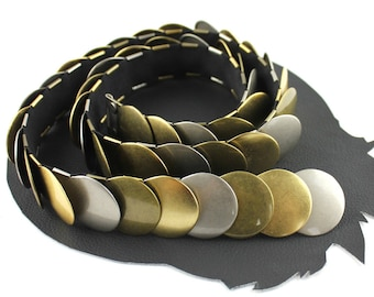 Brass Silver & Gold Circle Scale Metal Elastic Belt