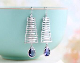 Amethyst Purple Crystal Glass Silver Dangle Earrings Matte Silver Ladder Earrings Statement Earrings February Birthstone Earrings