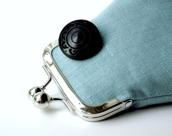 Pale blue and black italian flax linen purse...carved wood button...Robins egg blue...large vegan coin credit card ID purse...last one!