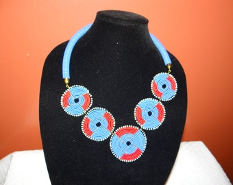 Colorful Red/Blue African bead necklace