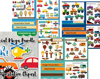 Commercial use clipart sale / transportation clip art / printable die cut images, planner stickers clipart / monster trucks, planes, cars