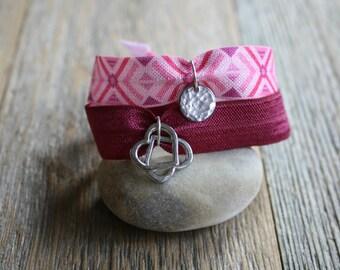 2 Open Hearts Hammered Charm Bracelets