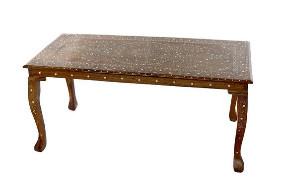 AngloIndian fruitwood coffee table with inlaid bone design