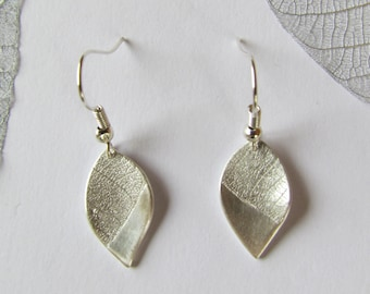 Curved silver leaf earrings