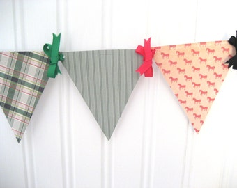 Preppy Equestrian Pink and Green Paper Pennant Banner Decoration for Birthday or Girl's Room Decor