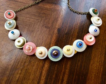 Simplicity in Pastel Button Necklace