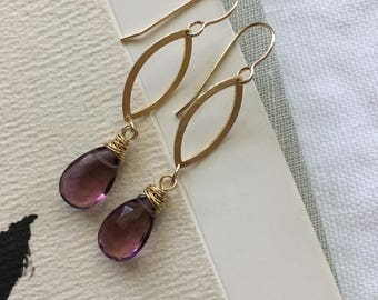 Natural Garnet and 14k Gold Fill Earrings, January Birthstone