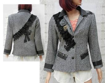 Altered couture jacket, Boho jacket, embellished jacket, ladies jacket, women's  OOAK clothing,Size small ,   # 175