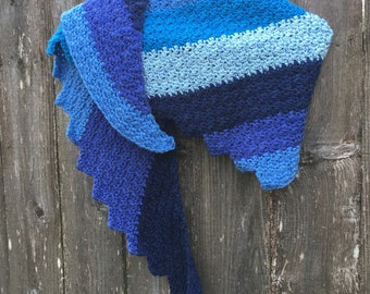 Warm blue crocheted wool blend shawl scarf wrap