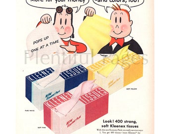 1955 Kleenex Tissues Vintage Ad, Advertising Art, Little Lulu, Tissue Box, Magazine Ad, Marge, Great for Framing or Collage.