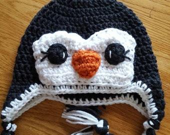 Penguin hat, handmade, crocheted penguin hat