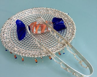 Sterling silver Venetian glass candy dish with tongs