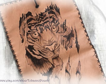 Ripped flesh, Tiger, Leather Tobacco Pouch, Wallet Case, Pyrography Leather, Pipe Pouch, Portatabacco, Anime case, Tabakbeutel