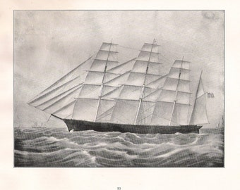 Old Print of the Sailing Ship Great Republic, built in 1853