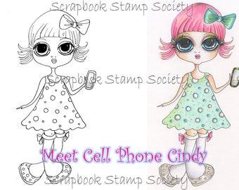 INSTANT DOWNLAOD Digital Digi Stamps Cell Phone Cindy  By Sherri Baldy
