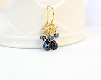 Sapphire Earrings, Dark Blue Sapphire Drop Earrings, Blue Earrings, Gold Earrings, Dark Blue Gemstone Earrings, Clover Link Earrings