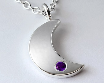 Amethyst Moon Necklace Pendant in Sterling Silver - Amethyst Moon, Sterling Silver Moon Necklace, Moon Necklace, Silver Amethyst Necklace