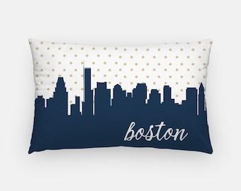 Boston pillow | gold polka dot pillow | lumbar pillow | Boston art | Boston decor | polka dot pillow | city skyline pillow | Boston MA