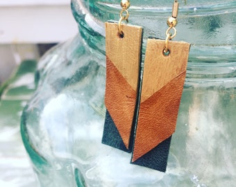 Painted leather mini earrings