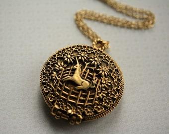 Vintage Unicorn Locket Necklace, Unicorn in Captivity Locket, Vintage Unicorn Necklace, Long Locket Gold, Unicorn Jewelry