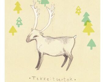 A5 illustration print // Inuit caribou // Inuit myth figures /// 6x8