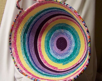 Large Colorful  Coiled Rope Toy or Yarn Basket