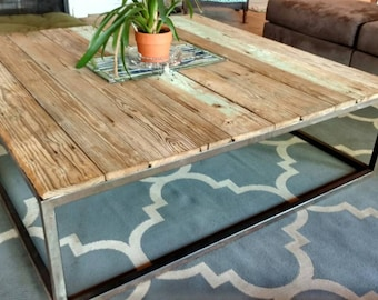 Boho Industrial Style Wood & Metal Coffee Table