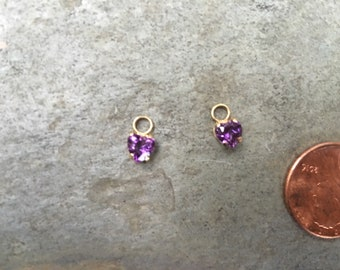Vintage Estate 14 KT Yellow Gold Genuine Faceted Amethyst Earring Charms Add To hoops Interchangeable