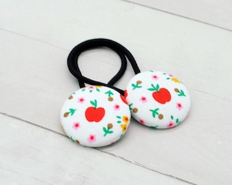 Back to School Hair Tie, Teacher Appreciation Gift, Apple Ponytail Holder, Apple Picking Hair Button, Pigtail Set, Farm Party Favor