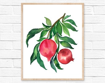 pomegranate watercolor watercolor painting pomegranate print kitchen art pomegranate painting pomegranate art watercolor print painting art