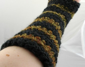 Black, Olive Green, Tan, and Rust Striped Crocheted Arm Warmers (size S-M) (SWG-AW-SH06)