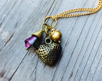 Necklace Heart Charm Pendant with Puffy Brass Heart, Wire Wrapped Raspberry Purple and Gold Round Bead Dangle on Vintage Gold Chain Necklace