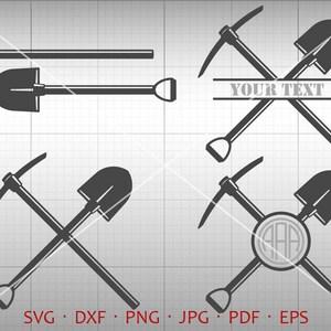 Miner Pick Shovel SVG, Coal Miner Svg, Pick Monogram Frame with Circle Font, Shovel Clipart Vector Silhouette Cricut Cut File Commercial Use