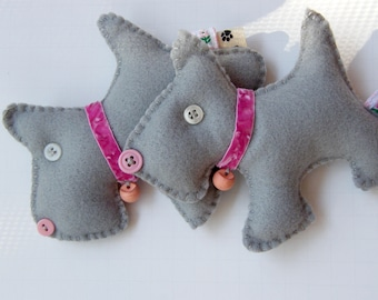 Gray and Pink Toto  Christmas Ornament Doggie  Scotty Felt Charm