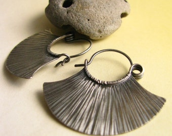 Sterling Silver Hoops, Argentium Earrings, Sterling Silver Earrings, Fan Hoop Earrings, Tribal Inspired Contemporary Earrings Silver Jewelry