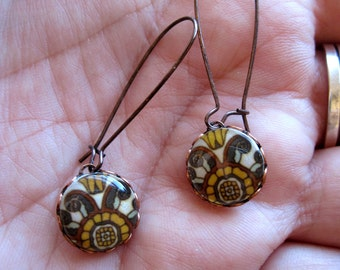 Drop earrings, California pottery style, Arts and Crafts tile design, fall colors, antique copper kidney wires, antique copper setting
