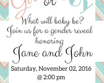 Gender Reveal Pink and Blue -Gender reveal invitations -gender reveal party - gender reveal party - gender reveal ideas - baby gender reveal