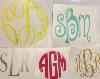 Customized vinyl monogram decal.  You pick size, color and style