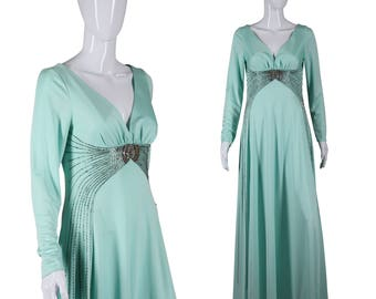 70s Jeweled Dress 1970s Maxi Dress Jack Bryan Dress Slinky Disco Dress Mint Green Dress Glam Dress Studio 54