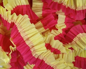 36 Feet Bombay Pink and Primrose Yellow Ruffled Crepe Paper Streamers - Party Decoration - Craft and Party Supplies