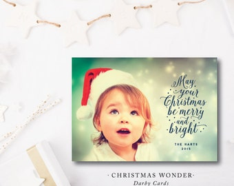 Christmas Wonder Printed Holiday Cards | Modern Christmas Greeting Photo Card | Merry and Bright | Printed or Printable by DarbyCards
